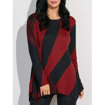 Longline Color Block T-Shirt - RED WITH BLACK RED/BLACK