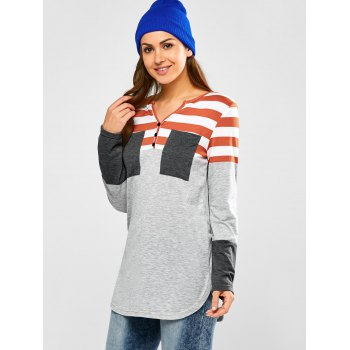 Half Button Striped Tunic T-Shirt - LIGHT GRAY M