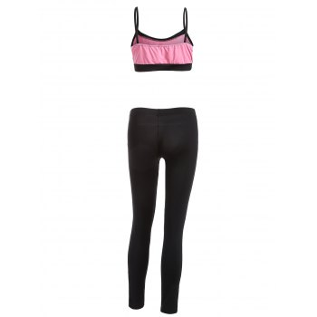 Color Splicing Gym Outfits - BLACK/PINK L