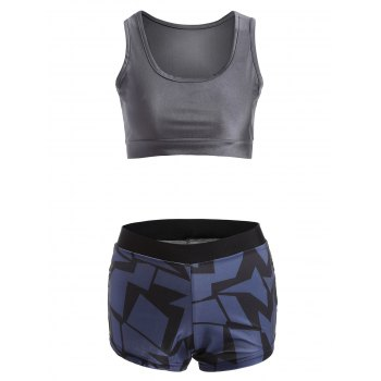 Stretchy Geometric Print Sporty Outfits