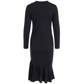 Long Sleeve Fitted Mermaid Midi Sweater Dress - BLACK L