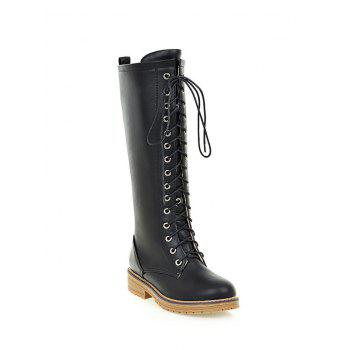 Retro Lace Up Mid PU Leather Calf Boots