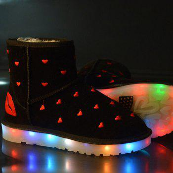 Lip Heart Embroidered Led Luminous Boots
