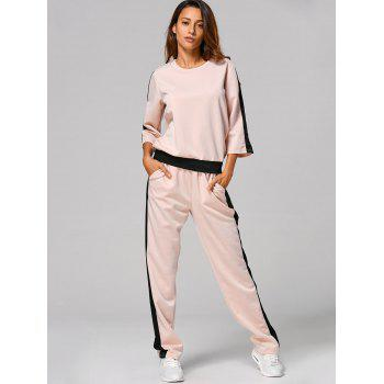 Sweat-shirt en bloc coloré + Pantalons - Abricot Clair L