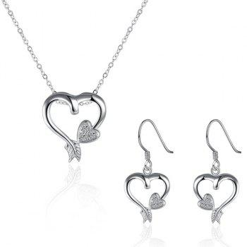 Rhinestone Heart Embellished Jewelry Set