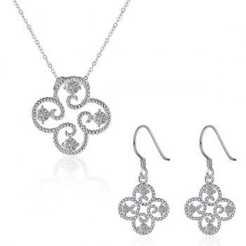 Rhinestone Clover Embellished Jewelry Set