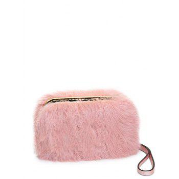 Metal Trimmed Zip Around Fuzzy Evening Bag - PINK PINK