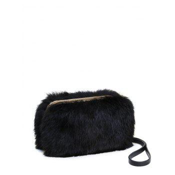 Metal Trimmed Zip Around Fuzzy Evening Bag
