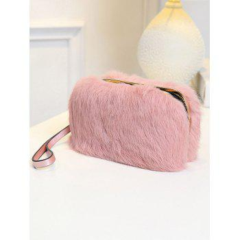 Metal Trimmed Zip Around Fuzzy Evening Bag - BLACK