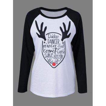 Letter Print Raglan Sleeve T-Shirt - WHITE AND BLACK WHITE/BLACK