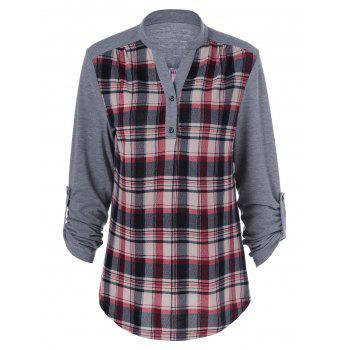 Buy Plaid Patchwork Adjustable Sleeve T-Shirt CHECKED