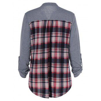 Patchwork Plaid T-shirt à manches réglable - Carré L