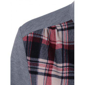 Plaid Patchwork Adjustable Sleeve T-Shirt - CHECKED CHECKED