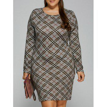Buy Plaid Sheath T-Shirt Dress CHECKED