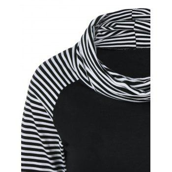 Cowl Neck Pinstriped T-Shirt - STRIPE XL