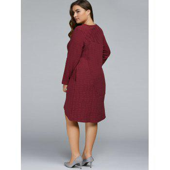 Plus Size Textured Long Sleeve High Low Dress - WINE RED ONE SIZE