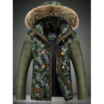 Camouflage Detachable Furry Hood Zip-Up Down Jacket