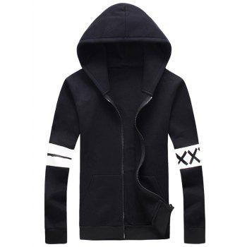 Stripe and Graphic Print Plus Size Hooded Zip-Up Hoodie