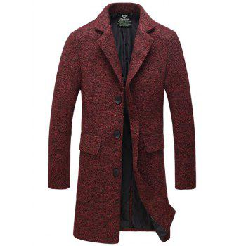 Buy Single-Breasted Turndown Collar Lengthen Woolen Coat RED