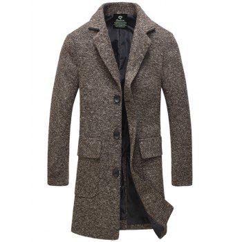 Single-Breasted Turndown Collar Lengthen Woolen Coat