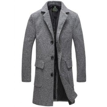 Buy Single-Breasted Turndown Collar Lengthen Woolen Coat LIGHT GRAY