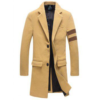 Single-Breasted Turndown Collar Lengthen Varsity Stripe Woolen Coat