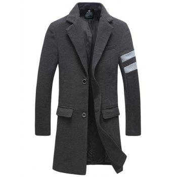 Buy Single-Breasted Turndown Collar Lengthen Varsity Stripe Woolen Coat DEEP GRAY