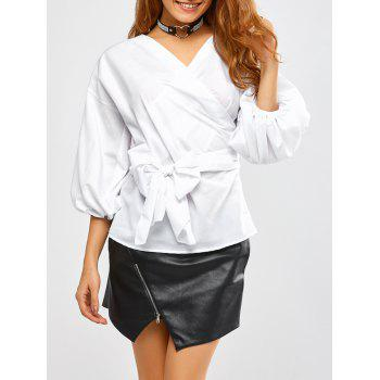 Belted Bubble Sleeve Top
