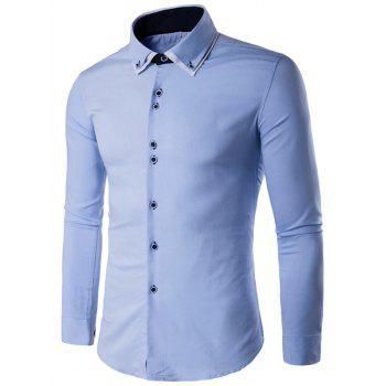 Double Layered Collar Long Sleeve Button Up Shirt