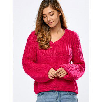Balloon Sleeve Crochet Chunky Sweater