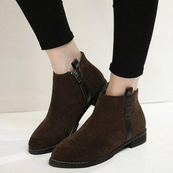 Concise Suede Flat Heel Ankle Boots