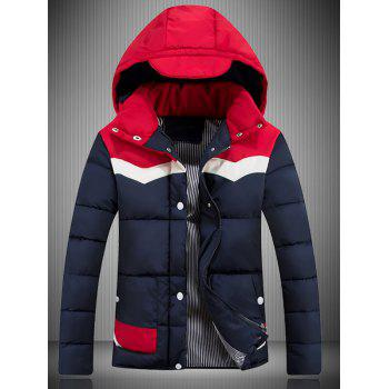 Color Block Spliced Hooded Padded Jacket - RED M