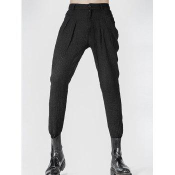 Zipper Fly Narrow Feet Pleated Texture Pants