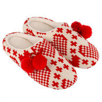 Color Block Knitted Winter Slippers - SIZE(39-40) SIZE(39-40)