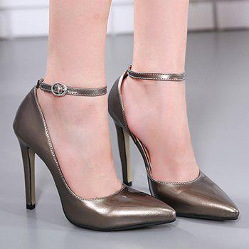 Ankle Strap Patent Leather Stiletto Heel Pumps