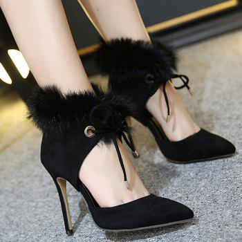Furry Pointed Toe Stiletto Heel Pumps