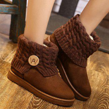 Button Cable Knitted Snow Boots