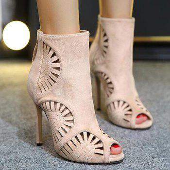 Peep Toe Stiletto Heel Hollow Out Boots