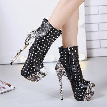 Snake Pattern Rivet Stiletto Heel Boots