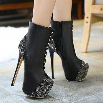 Platform Rivet High Heel Boots