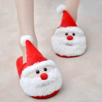 Color Block Flock Christmas Slippers - RED SIZE(37-38)