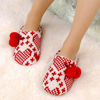 Color Block Knitted Winter Slippers - SIZE(37-38) SIZE(37-38)