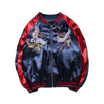 Crane Embroidery Rib Spliced Sukajan Jacket