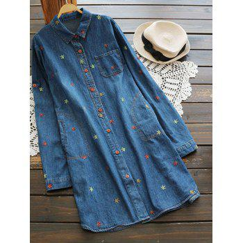 Button Up Longline Embroidered Denim Shirt