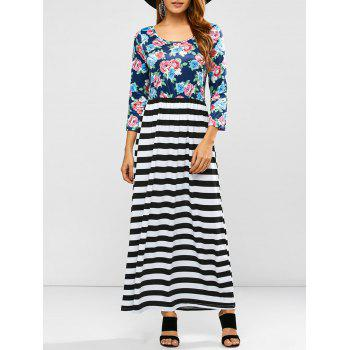 Scoop Neck Stripe Floral Print Maxi Dress