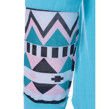 Geometrical Pocket Long Sleeve Tee - AZURE L