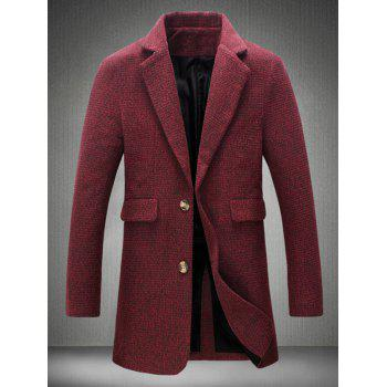 Flap Pocket Lapel Collar Tweed Heather Coat