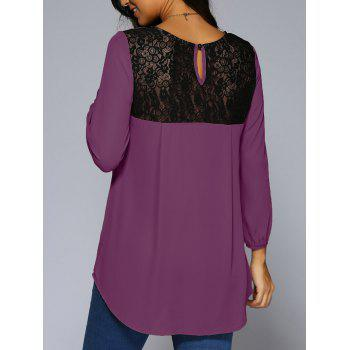 Lace Patchwork High Low Hem Chiffon Blouse