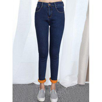 Plus Size Fleece Denim Pants