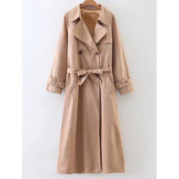 Double-Breasted Belted Maxi Trench Coat